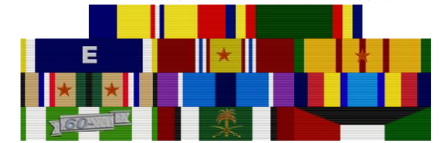 """Top Row: Combat Action Ribbon - Navy Unit Commendation Second Row: Navy Battle """"E"""" Ribbon - National Defense Service Medal w/ 1 star - Vietnam Service Medal w/ 1 star Third Row: Southwest Asia Service Medal w/ 2 stars - Humanitarian Service Ribbon - Sea Service Deployment Ribbon Fourth Row: Republic of Vietnam Campaign Medal - Kuwait Liberation Medal (Saudi Arabia) - Kuwait Liberation Medal (Kuwait)"""