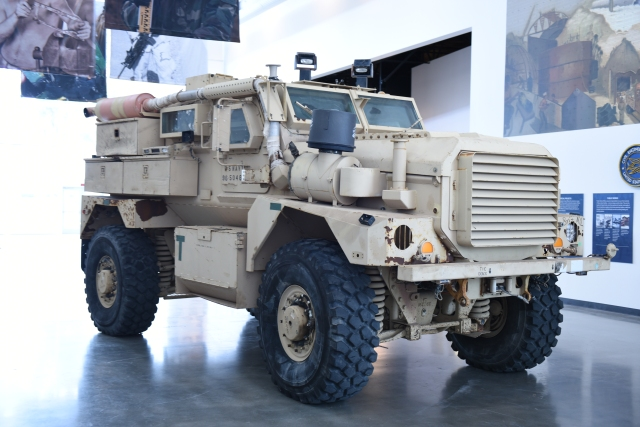 Mine-Resistant Ambush Protected (MRAP) vehicle in the Grand Hall of the Seabee Museum.