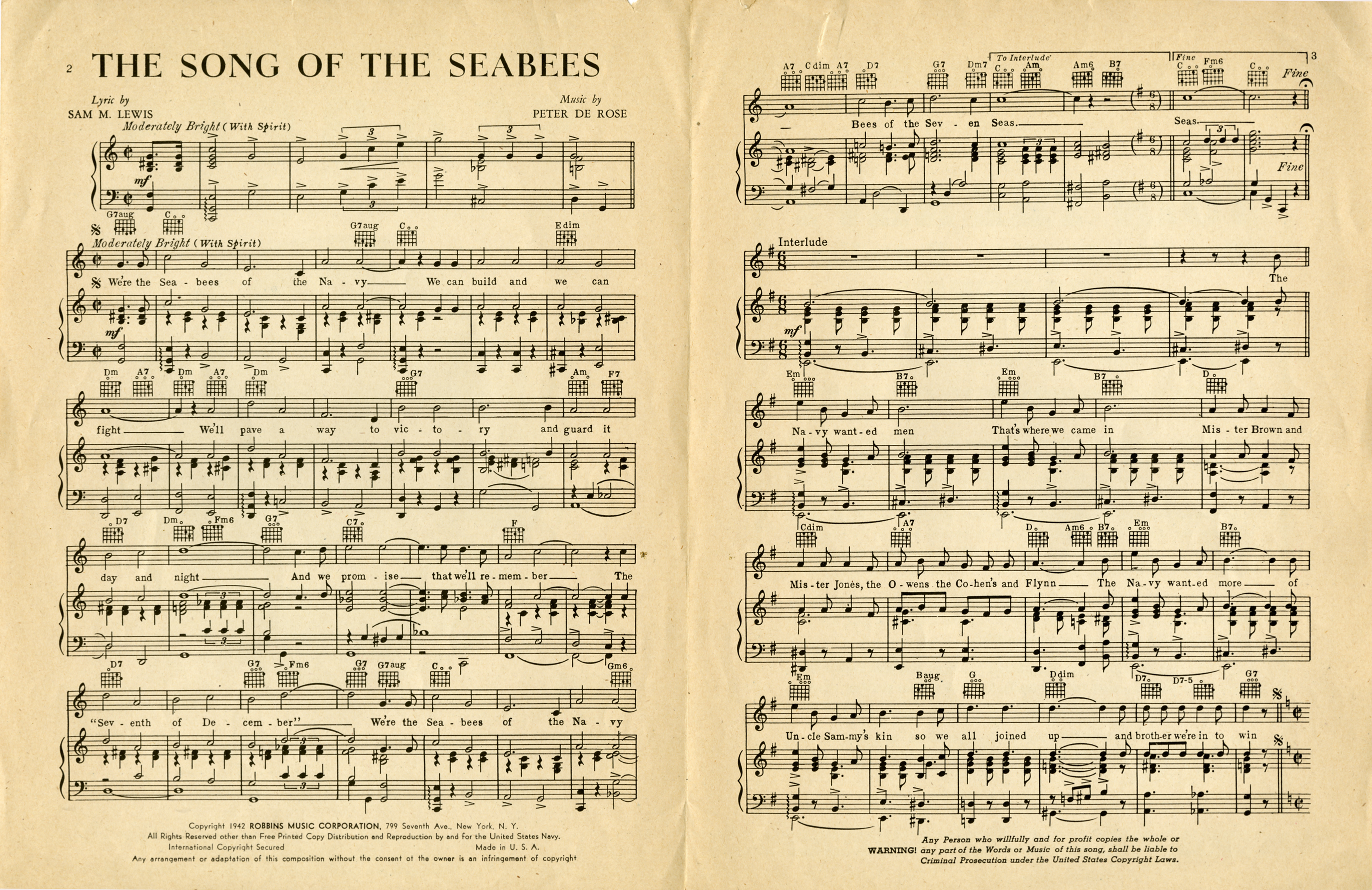 Archivist's Attic: The Song of the Seabees « U S  Navy