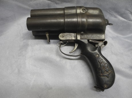 Type 90 Triple Barrel Flare Gun made for the Imperial Japanese Navy (U.S. Navy Seabee Museum)
