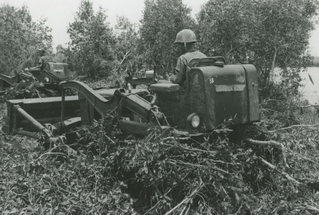 EOCN Anderson and EO3 Kramer clearing riverbanks in the Mekong Delta.