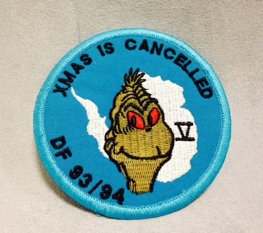 "Crew patch from Operation Deep Freeze in Antarctica ""XMAS IS CANCELLED"" DF 93-94 [U.S. Navy Seabee Museum Collection]"