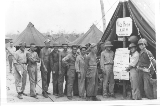 A voting area created out of a tent, October 3, 1944.