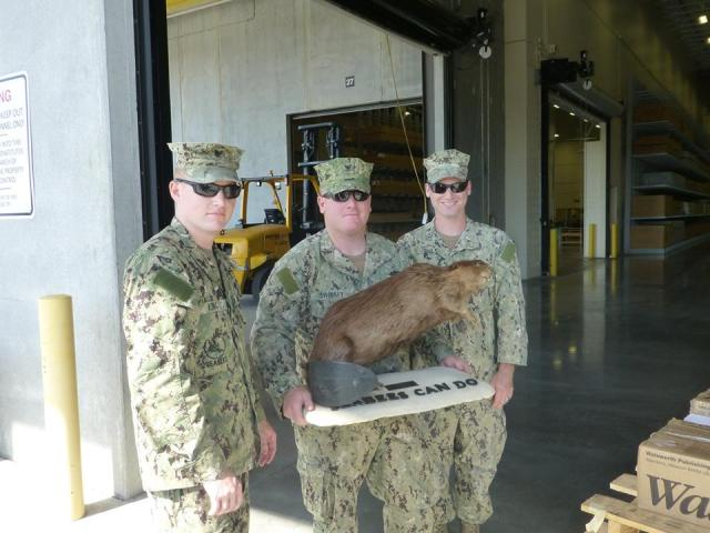 Members of NMCB 74 and beaver before beaver shipped to U.S. Navy Seabee Museum
