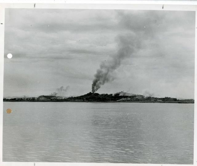 Smoke during naval bombardment on Incheon, Korea
