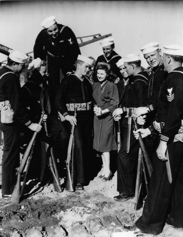 Seabee Queen Susan Hayward with her Seabees