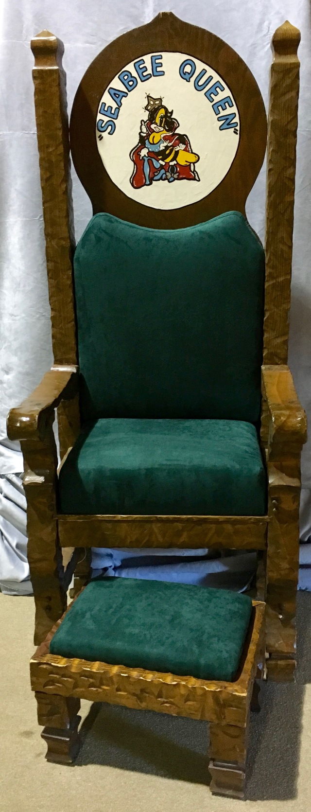 Seabee Queen Throne and stool on display at the U.S. Navy Seabee Museum