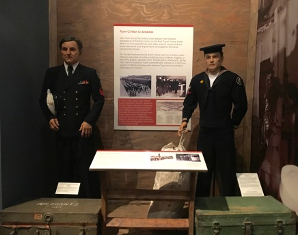 Mordecai and Arthur posing in the Civilian to Seabees exhibit