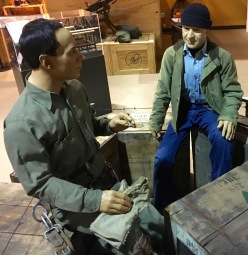 Korean era mannequins, Bob and BJ, posing on a break from work