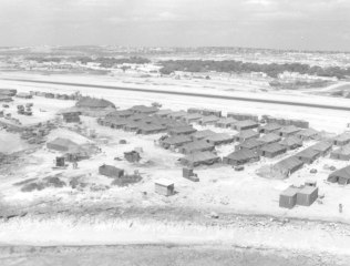 View of military tent camp in Somalia.