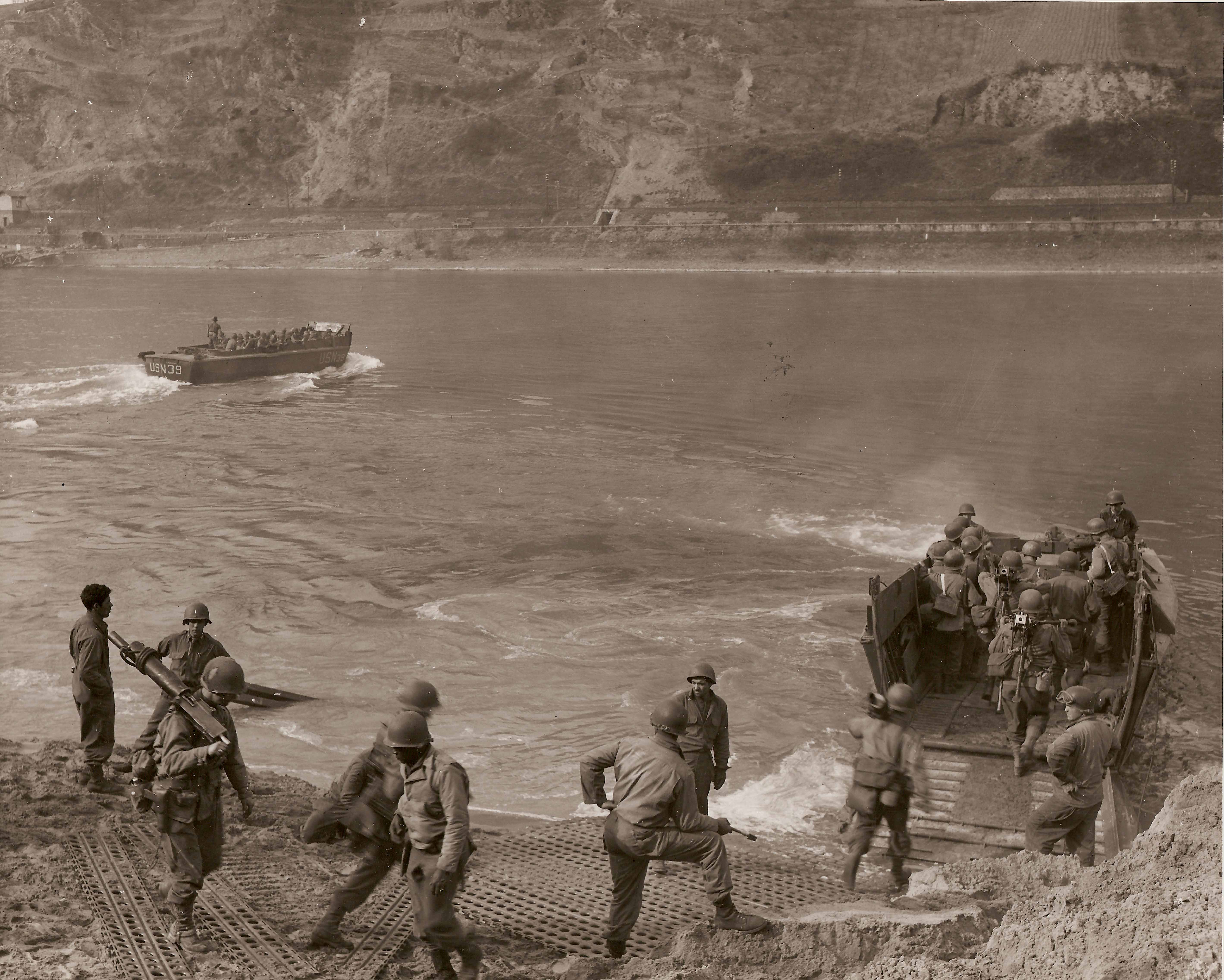 Seabees help Patton and Army cross the Rhine River.
