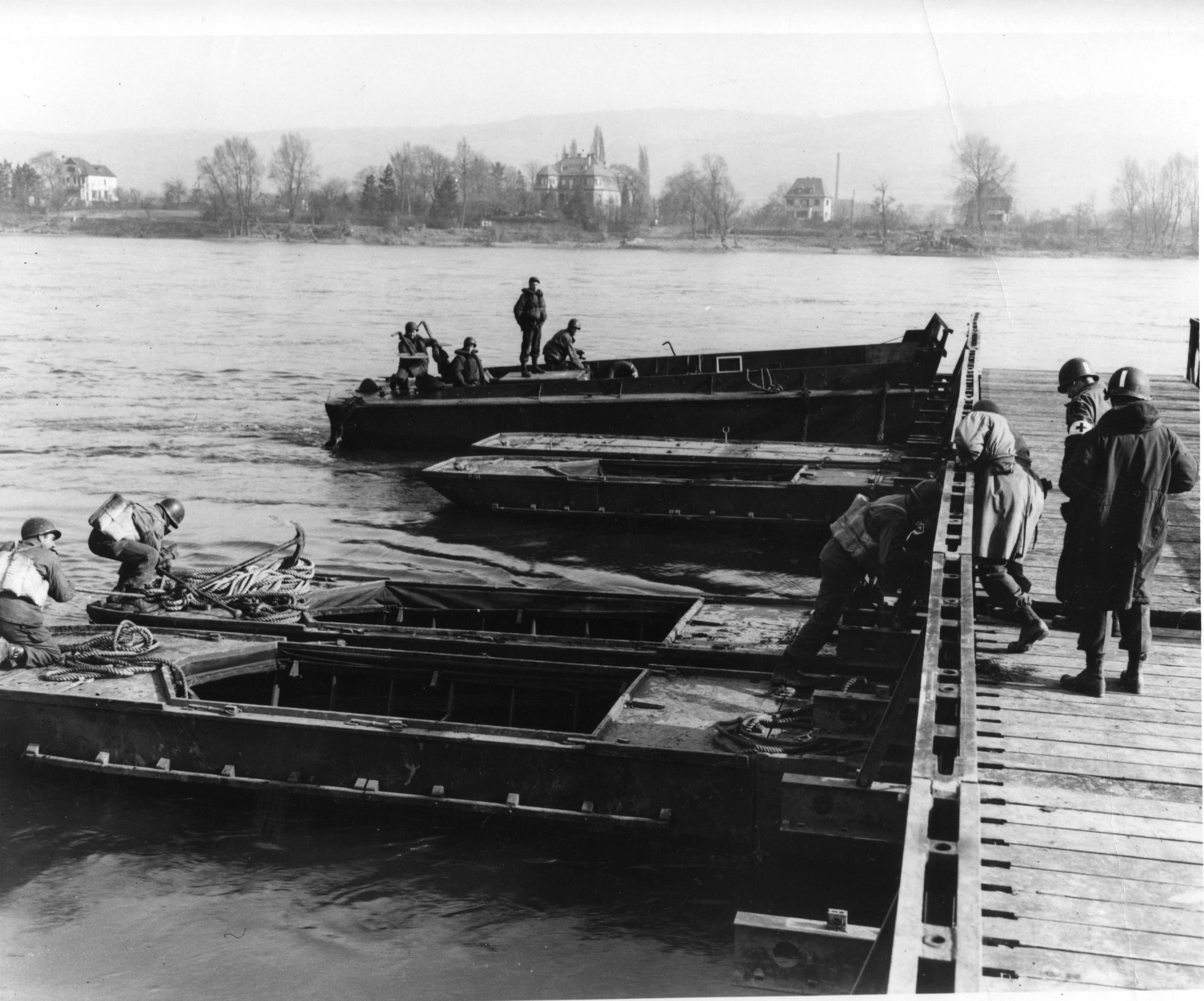 Seabees assist Patton cross the Rhine.