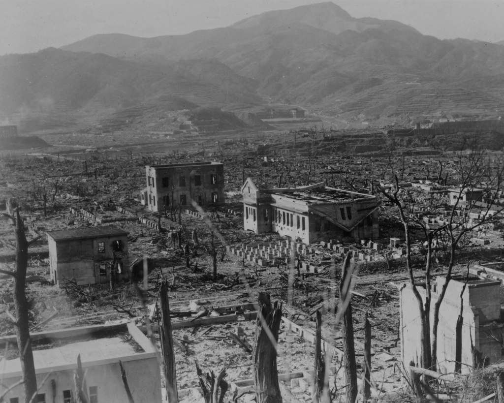 Nagasaki, Japan after the atomic bomb detonation. Formerly restricted. Declassified 9/10/1959. Photograph taken March 17, 1948. John H. Lawrence Collection-355.