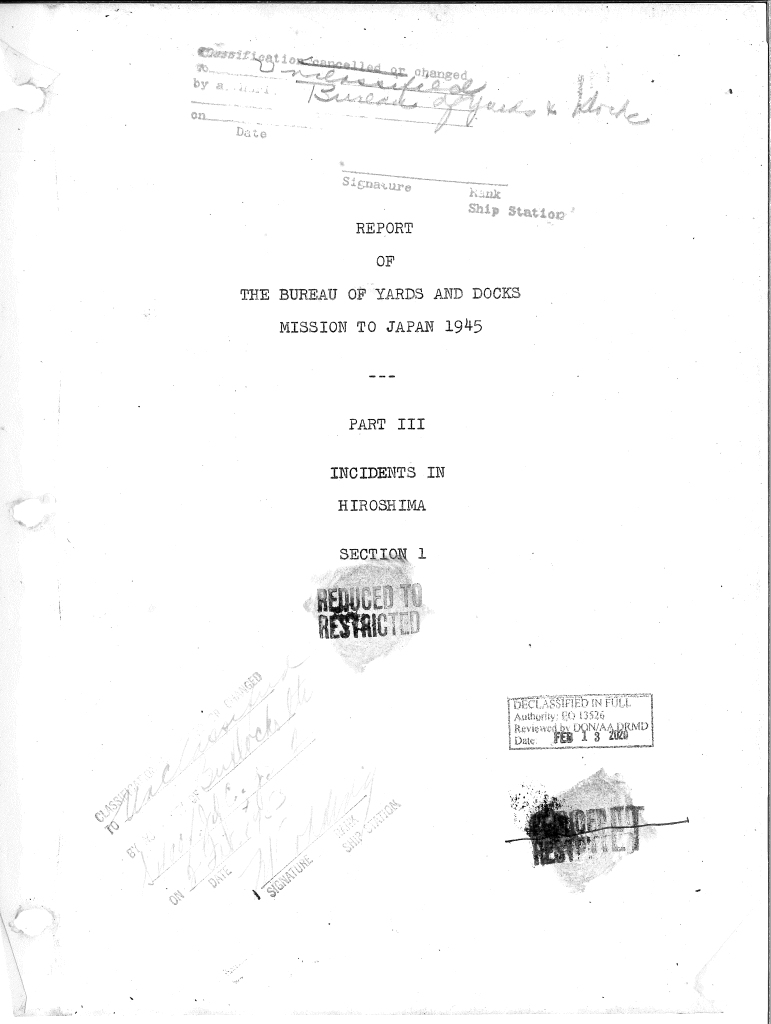 Front page of the Report of The Bureau of Yards and Docks Mission to Japan 1945: Part III - Incidents in Hiroshima Section 1