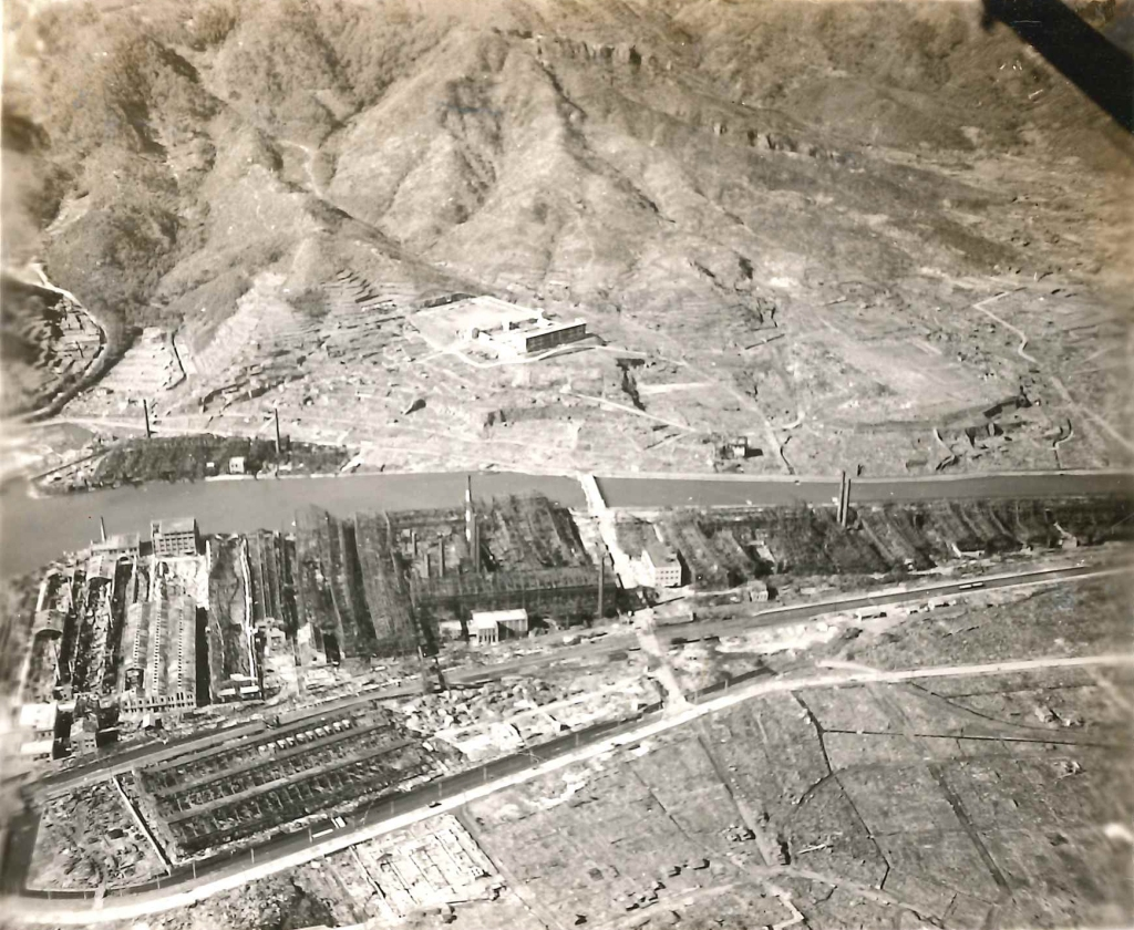Aerial view of the destruction of Mitsubishi Aircraft Factory near Nagasaki, Japan. Photograph taken by 31st Naval Construction Battalion in January 1946.
