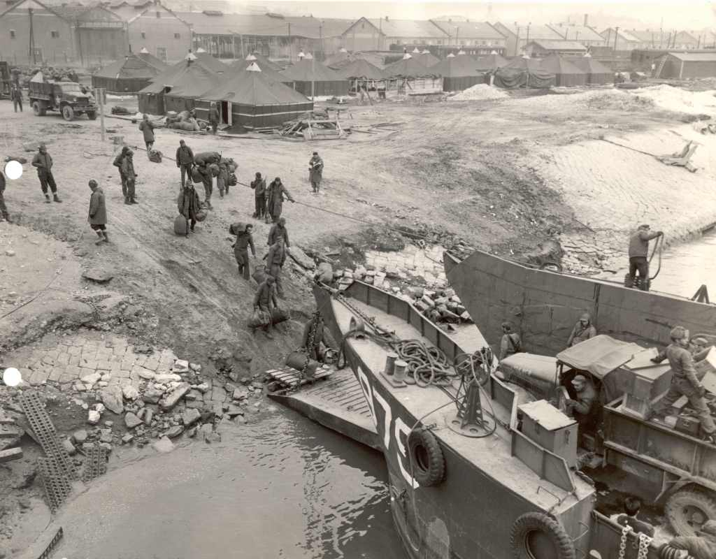 Seabees leave Inchon, circa 1950.
