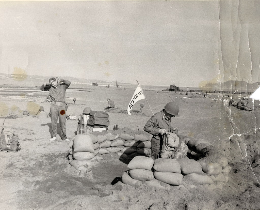 Seabees with ACB-1 in newly built bunker, Inchon, circa 1950.